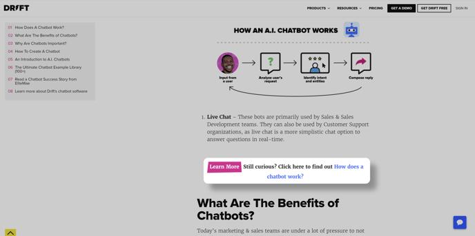 Drift Link on Chatbots