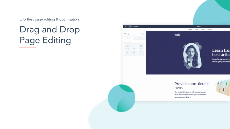 CMS Hub Drag and Drop Page Editing. HubSpot CMS hub drag & drop page editing, white space on left, online screenshot on right