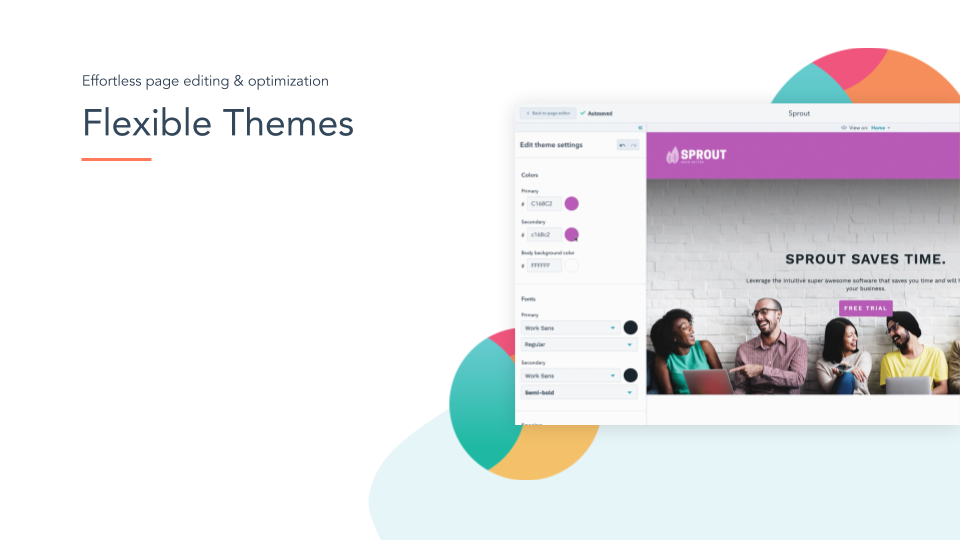 CMS Hub Flexible Themes. HubSpot CMS hub flexible themes, white space on left, online screenshot on right