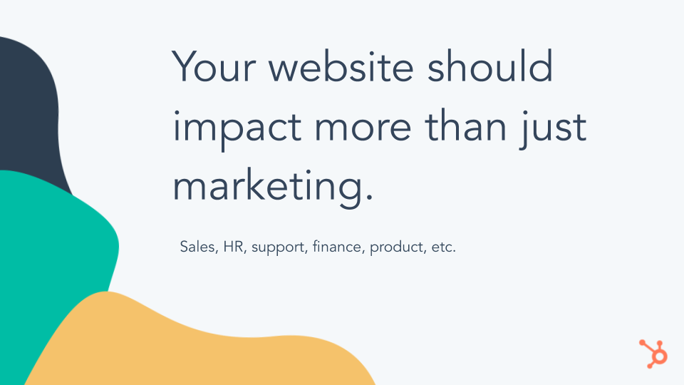CMS Hub Website Impact. grey slide, stating your website should impact more than just marketing
