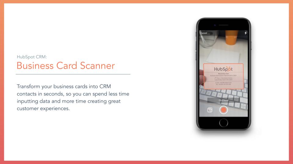HubSpot CRM Business Card. HubSpot CRM business card scanner tool, description on left online mobile screen scanning card on right