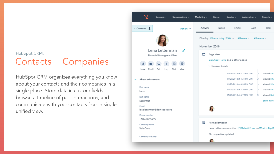 HubSpot CRM Contacts + Companies. HubS[pt CRM contacts and companies database feature, description on left online screenshot on right