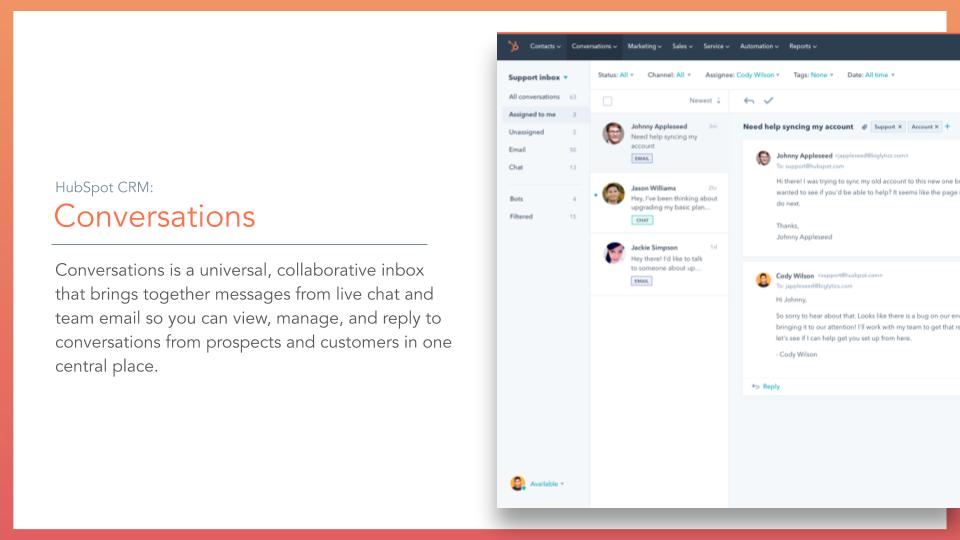 HubSpot CRM Conversations. HubSpot CRM Conversations tool, description on left online screenshot on right