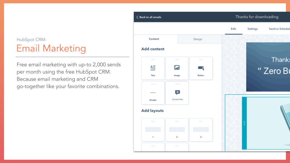 HubSpot CRM Email Marketing. HubSpot CRM email marketing feature, description on left online screenshot on right