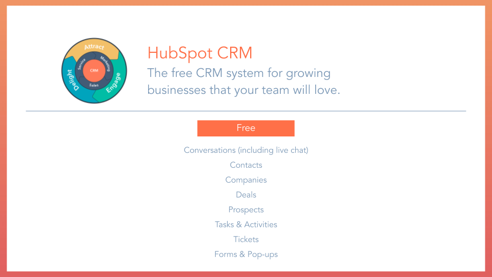 HubSpot CRM Overview free CRM system, displaying tools and features included. conversations plus live chat, contacts, companies, deals, prospects, tasks and activities, tickets, forms and pop-ups