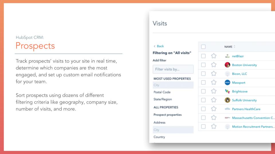 HubSpot CRM Prospects. HubSpot CRM Prospects tool, description on left online screenshot on right