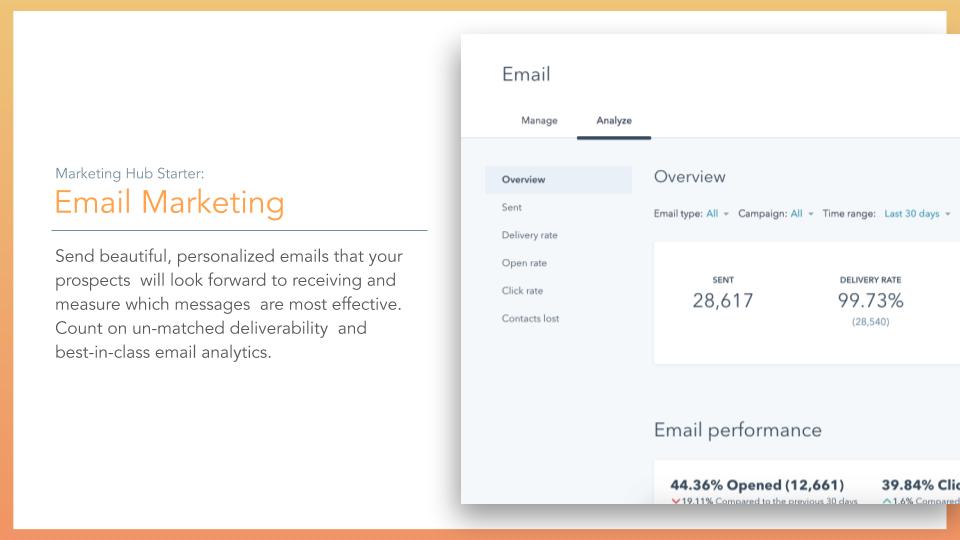 HubSpot Marketing Hub Email Marketing. HubSpot Marketing hub email marketing tool, description on left online screenshot on right