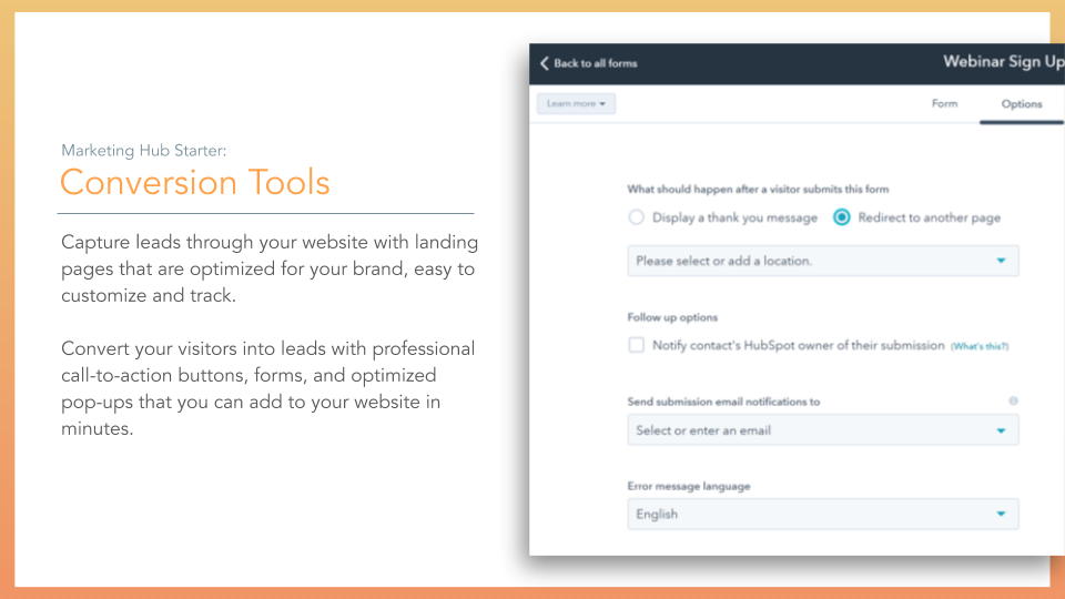 HubSpot Marketing Hub Forms Conversion Tools.  conversion tools, description on left online screenshot on right