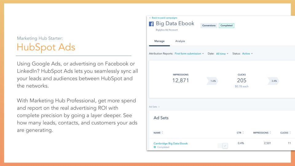 HubSpot Marketing Hub HubSpot Ads. HubSpot Marketing hub ads feature, description on left online screenshot on right