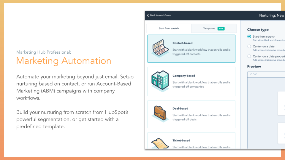 HubSpot Marketing Hub Marketing Automation. automation tools, description on left online screenshot on right