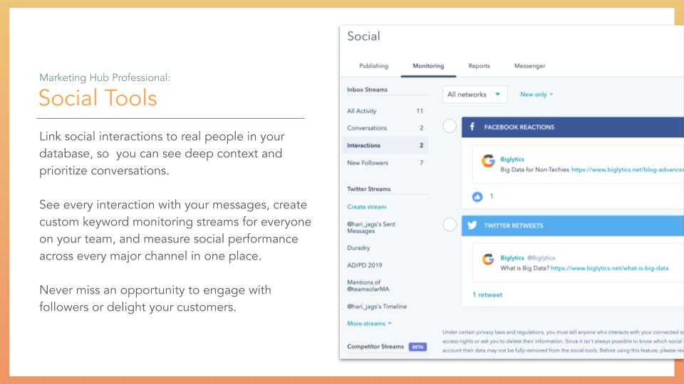 HubSpot Marketing Hub Social Tools. social tools, description on left online screenshot on right