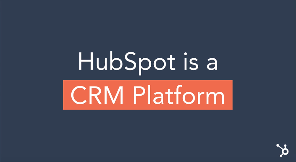 HubSpot is a CRM platform title appearing on a navy blue background