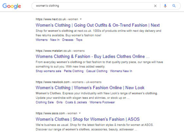Google search  for women's clothing using ecommerce SEO example