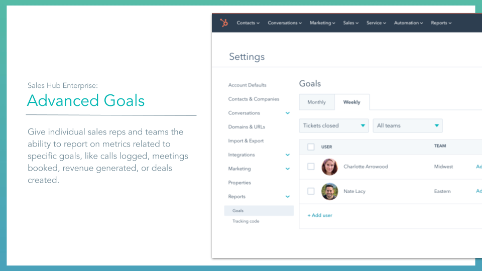 Sales Hub Advanced Goals. HubSpot sales hub advanced goals feature, description on left online screenshot on right