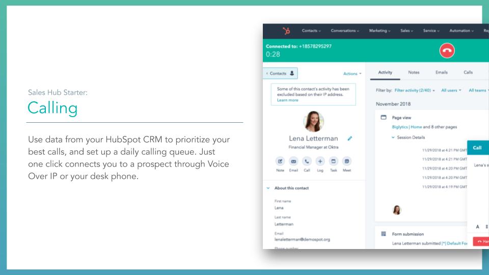 Sales Hub Calling. HubSpot sales hub calling feature, description on left online screenshot on right