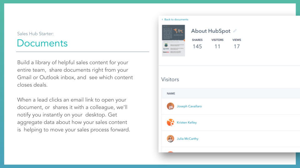 Sales Hub Documents. HubSpot sales hub documents feature, description on left online screenshot on right