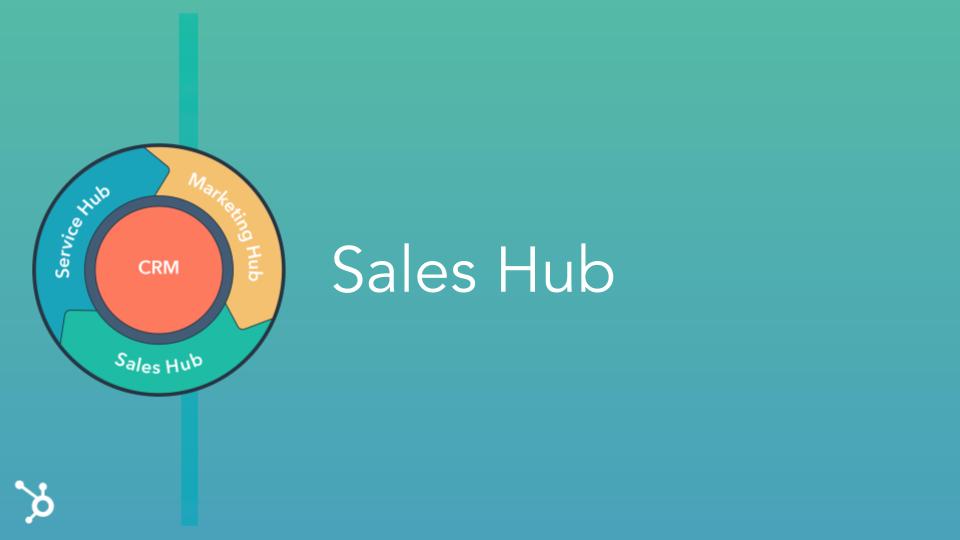 Sales Hub Header. Teal screen with Sales Hub Title and HubSpot multicolour Flywheel