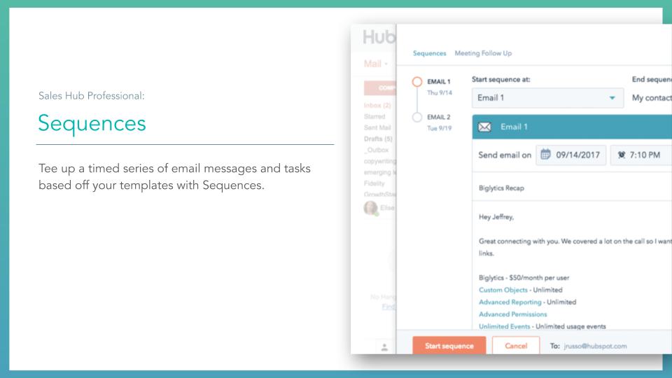 Sales Hub Sequences. HubSpot sales hub sequences tool, description on left online screenshot on right