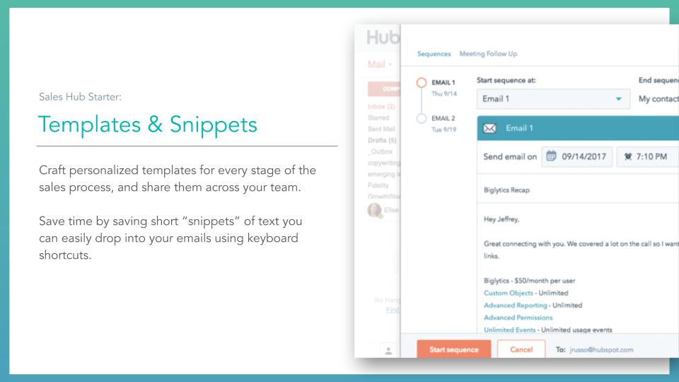 Sales Hub Templates & Snippets. HubSpot sales hub templates & snippets tools, description on left online screenshot on right