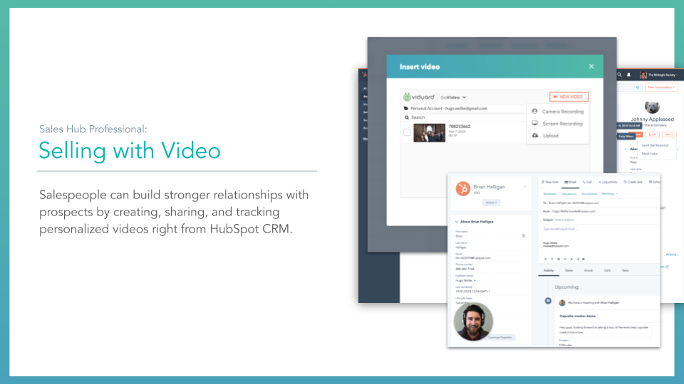 Sales Hub Video. HubSpot sales hub selling with video feature, description on left online screenshot on right