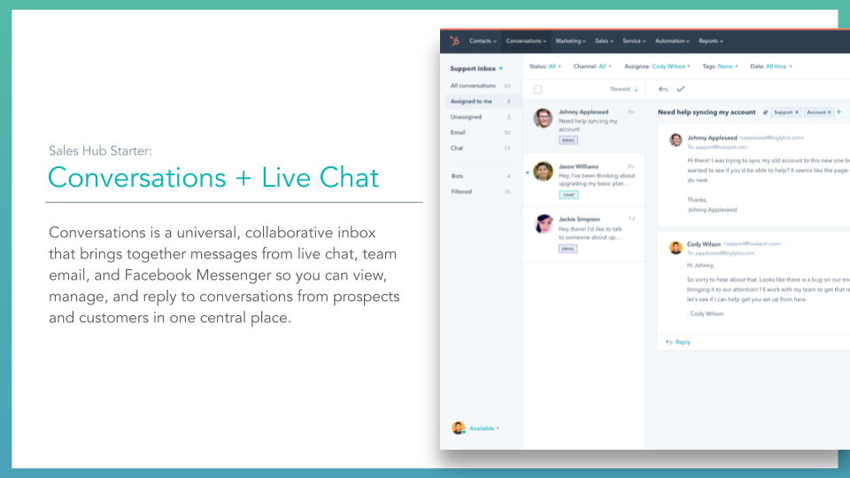 Sales Hub conversation + live chat. slide with conversations and live chat window dialogue