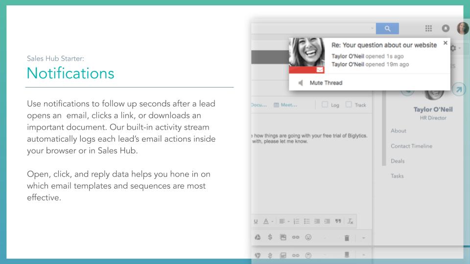 Sales Hub notifications. HubSpot sales hub notifications, description on left online screenshot on right