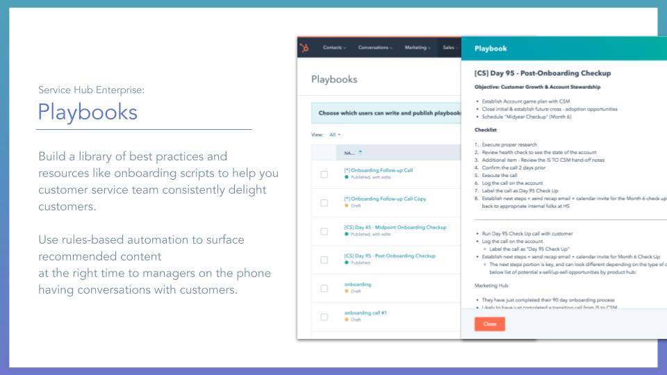 Service Hub Playbooks. HubSpot service hub playbooks tool, description on left online screenshot on right
