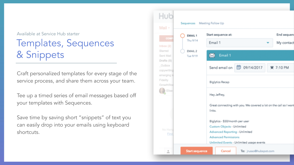 Service Hub Templates, Sequences & Snippets. HubSpot service hub templates, sequences & snippets tool, description on left online screenshot on right