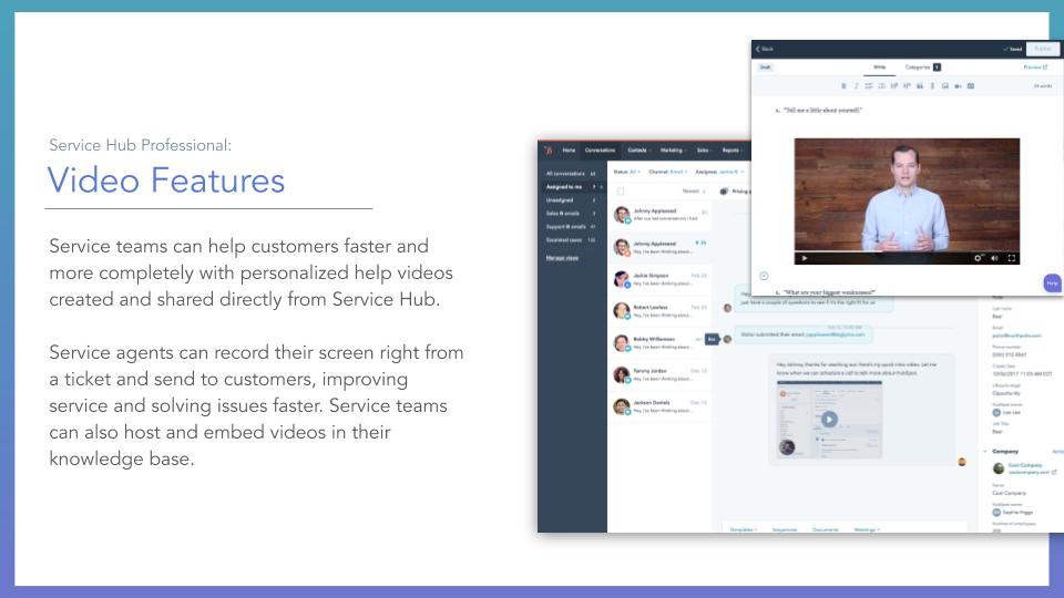 Service Hub Video features. HubSpot service hub video feature, description on left online screenshot on right