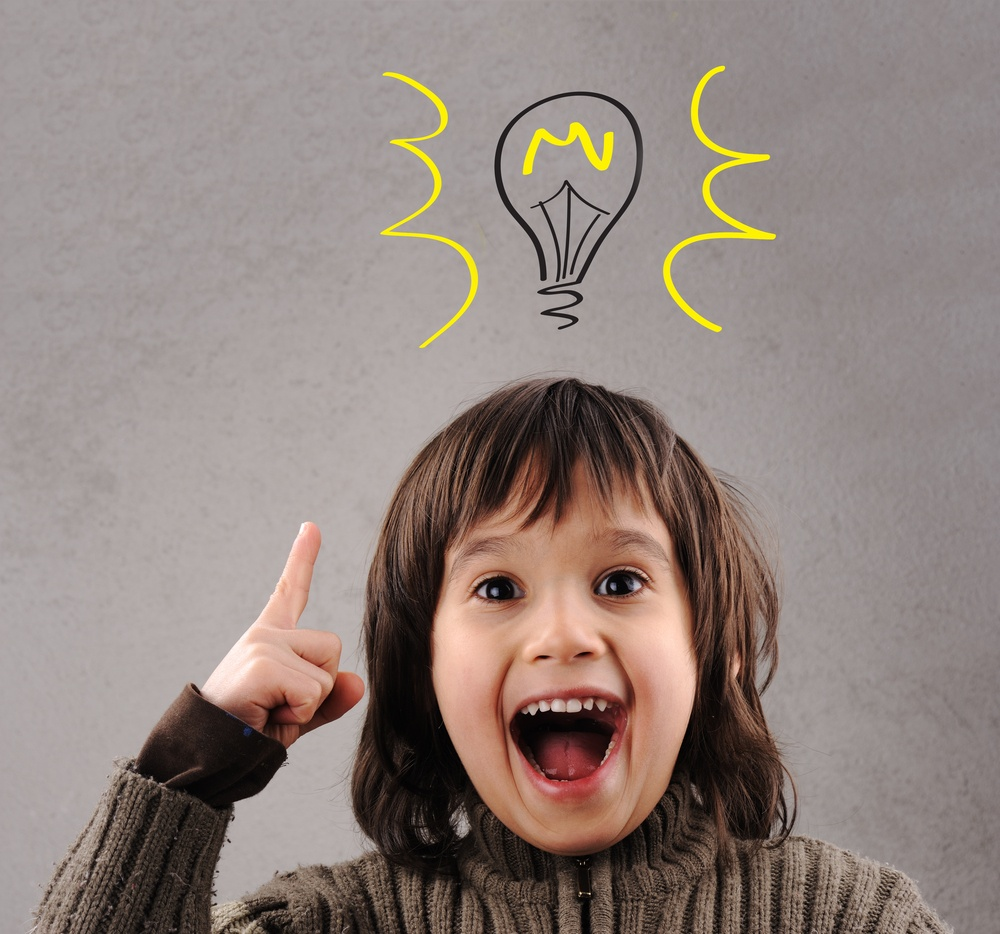 Marketing agencies generate excellent ideas, kid with illustrated bulb above his head