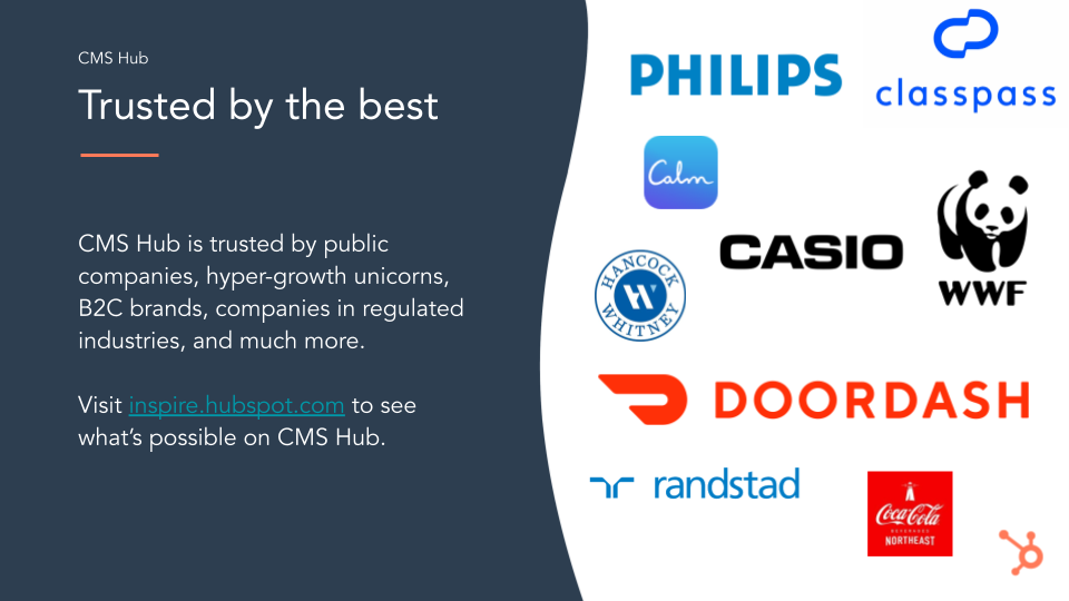 HubSpot CMS, trusted by the best, known brands love them